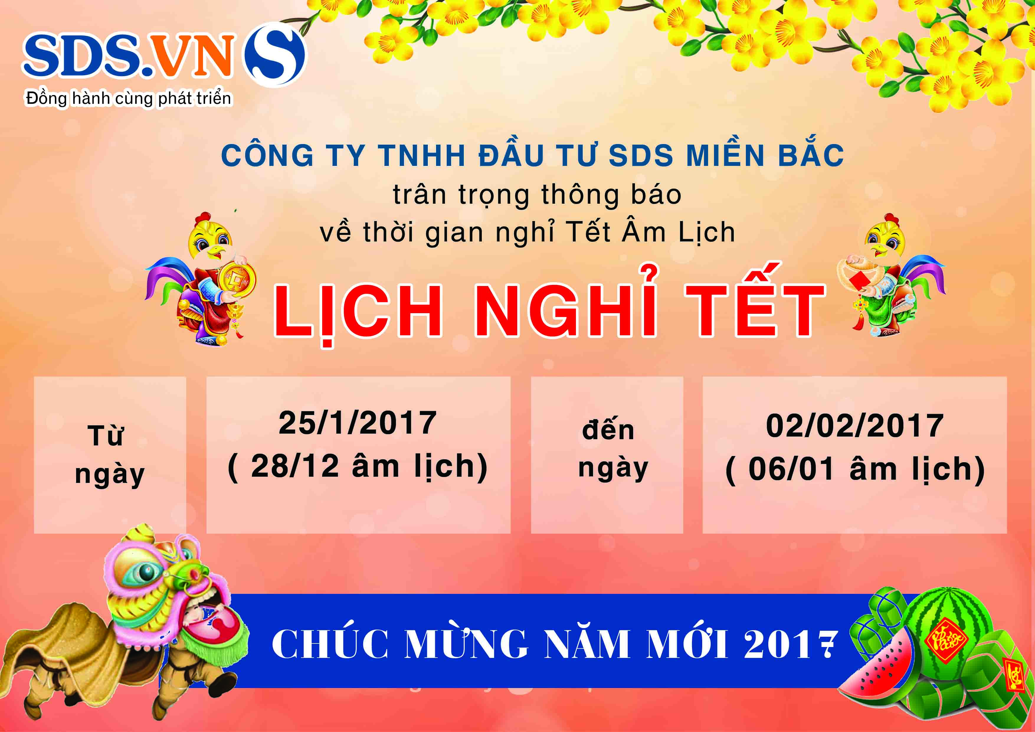 Thông báo lịch nghỉ tết Nguyên Đán 2017